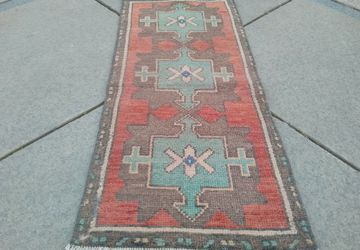 TURKİS SAMALL RUGS !, Free Shipping, Door Mat, Welcome Rug, Vintage Rugs, Table Rug, Red in green Rug, Oushak Rugs, ikat rug