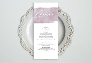 Watercolor Purple Wedding Menu Template, Wedding Menu Cards, Wedding Menu Sign