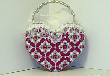Dark Fuchsia Jeweled Heart shaped Tote bag