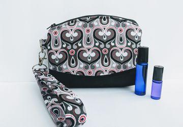 Essential oil wristlet , Travel essential oil, Roller ball carrier, Essential oil purse, Essential oil wallet, grab n go pouch