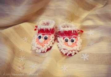 "Knitted baby-shoes ""Santa"""