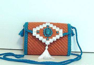Southwestern Terra-Cotta and Turquoise evening bag