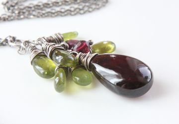 Garnet Necklace Oxidized Silver Cluster Pendant January Birthstone