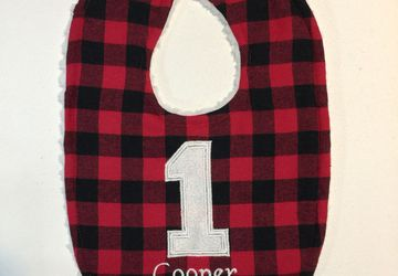 Buffalo plaid 1st birthday bib personalized
