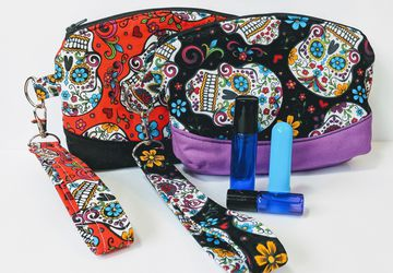 Sugar Skull roller ball wristlet, Travel essential oil, Roller ball carrier, Roller ball purse, Essential oil wallet, essential oil purse