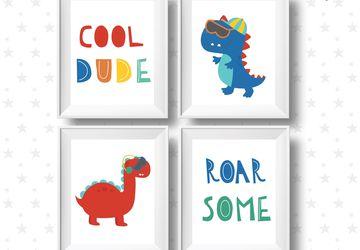 Roarsome and cool dude dinosaurs, i children wall art.