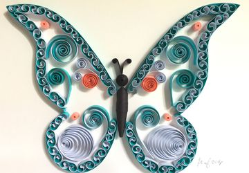 Quilling art, Butterfly wall decor, Butterfly, Nursery decor, Baby shower gift, Framed wall art, Wall hanging