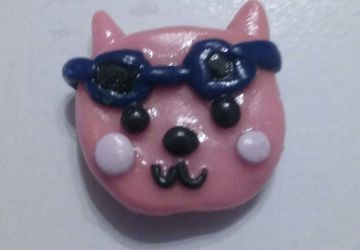 Cat with sunglasses polymer clay magnet