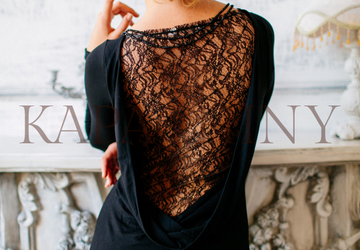 Jersey dress with a lace inset on the back