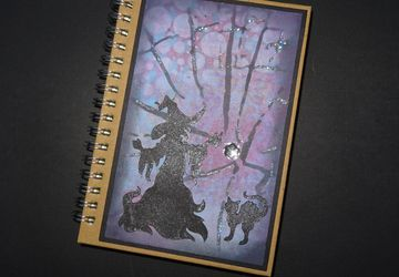 Witch notebook, Hand decorated notebook, C6 notebook, Halloween notebook,Lined Notebook, Witch and cat book