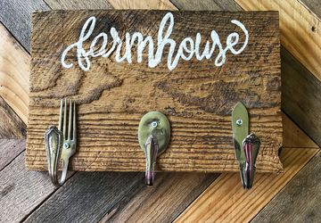 Farmhouse Kitchen Sign | Repurposed Silverware Hooks | Handmade wooden signs