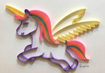 Unicorn art, Unicorn gift, Quilling art, Kid's room decor, Nursery decor, Baby shower gift, Birthday gift, Framed art
