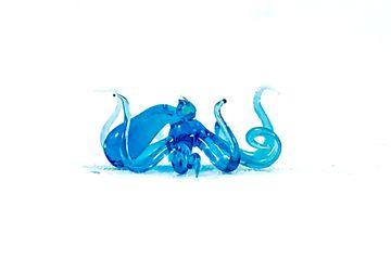 Tiny Blue Crystal Octopus - Borosilicate Glass Sculpture by Rafael Glass