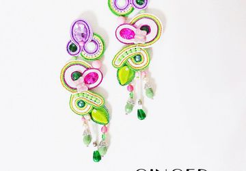 Leaves earrings, pink earrings, Statement earrings, soutache earrings, long earrings, gift for girlfriend, kawaii fairy kei jewellery