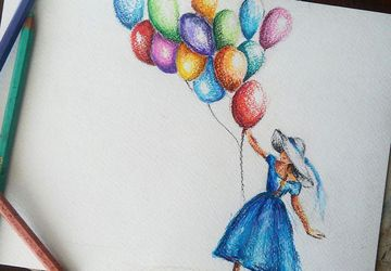 "Original Colorful Watercolor Illustration ""Girl with Balloons"". Nursery Room Decor. Wall Art. Baby Room Decor."