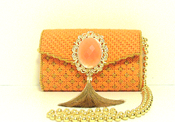 Orange and Gold clutch/evening bag