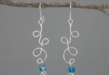 Silver plated wire and bead earrings, wirework, curly cues