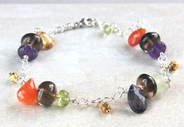 Multi Gemstone Bracelet Mixed Metal Jewelry Sterling Silver Gemstone Jewelry Multi Colored Jewelry Colorful Gemstone Bracelet