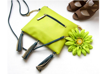 Lime green handbag, Faux leather vegan purse, Cross body shoulder bag, Handmade Purse, Crossover tassel bag