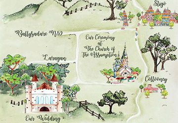 Wedding map design watercolour