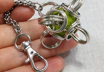 Chainmaille Captured Felted Bead in Tetra Orb Key Chain on HANDMADE chain