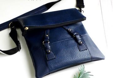 Vegan Crossbody Bag, Blue Crossbody Bag, Foldover Bag, Vegan Leather Shoulder Bag, Faux Leather Laptop Bag, Bespoke Bag