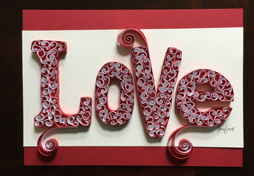 Love sign, Quilling art, Anniversary gift, Inspirational signs, Nursery wall art, Wall hanging, Bedroom decor
