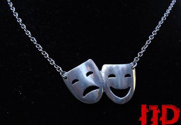 Mask Necklace - Theater Necklace - Woman Necklace - Silver Mask Necklace - Actors Jewelry - Acting Pendant - Theater Masks - Theater Sign