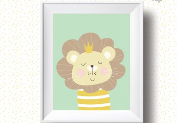 Lion, Playroom print, nursery wall decor, kids poster, nursery print, kids wall art, playroom poster.