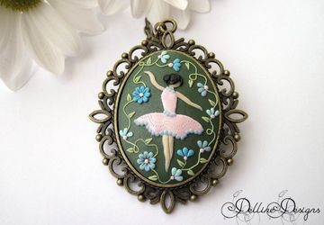 Dancing Among Flowers * Polymer clay pendant * Unique jewelry * Ballerina * Hand-sculpted pendant * Applique * Filigree * Handmade
