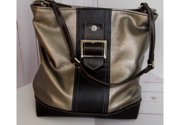 Bronze Metallic Vegan Leather Tote Bag