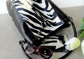 Zebra handbag, Zebra print handbag, Vegan handbag women, Black bucket bag, Animal print handbag, Drawstring bucket bag, Handbag with tassel