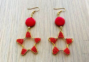Rose red earrings red star drops summer earring