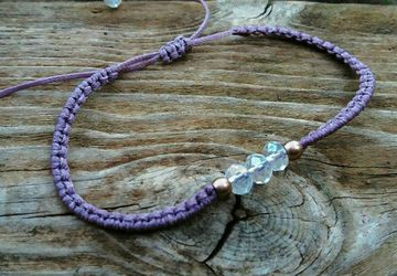 Lilac Minimal Crystal macrame Bracelet