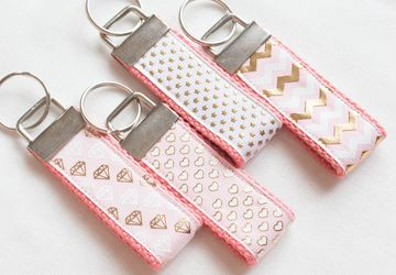 Pink Keychain - Gold Foil Chevron, Star, Heart, Diamond