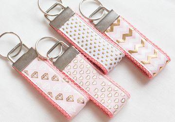 Pink Keychain - Gold Foil Chevron, Star, Heart, Diamond