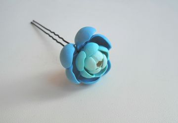 Hairpin with flower (polymer clay)