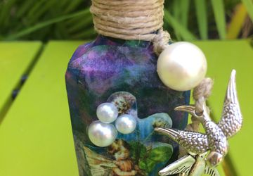 Fairy Boy Decoupaged Vintage Bottle