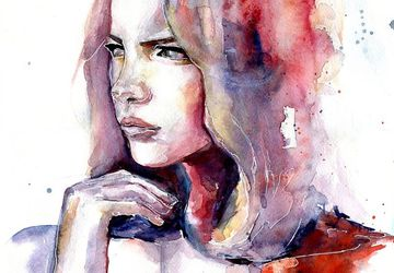 "A watercolor painting ""She"""