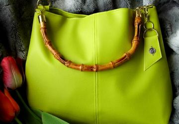 Green hobo bag, Lime green handbag, Bamboo handle bag, Womens large purse, Vegan leather tote, Summer tote bag, Gift for her