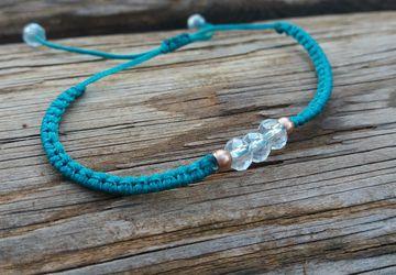Turquoise Minimal Crystal macrame Bracelet