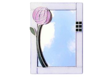 "Scottish Mackintosh Rose Mirror, Art Nouveau Style, Stained Glass Wall Mirror 10x8"" with Pink or Purple Glasgow Rose"