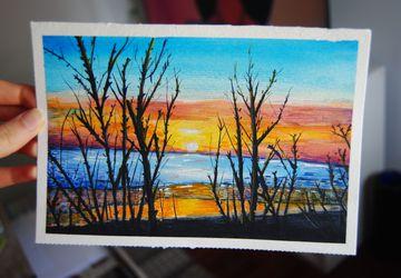 Original Sunset Beach Landscape Watercolor Illustration. Summer. Home Decor. Wall Art. Painting. Orange. Blue
