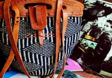 African handmade Leather / wool Masai bag