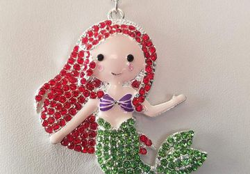 Little Mermaid Rhinestone Silver Necklace