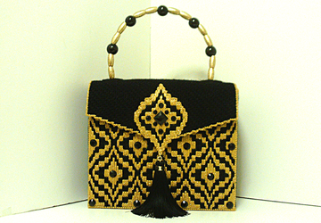 Black & Gold Jeweled Bargello Handbag