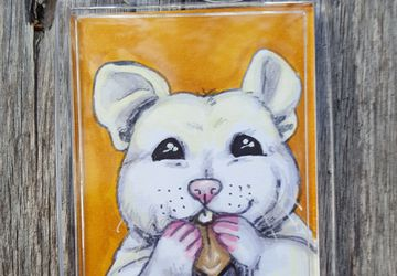 Nibbles 2x3 Photo Keychain | Happy Hungry Hamster | Each Copy is Handpainted | Perfect For Hamster Lovers | Back to School Accessory