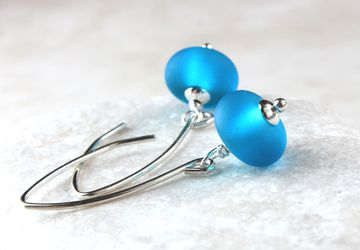 Blue Glass Earrings Sterling Silver Lampwork Earrings