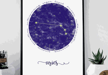 Aries zodiac sign printable wall art