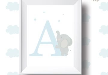Letter ,elephant ,personalised Playroom print, nursery print, wall art,baby boy ,playroom poster, instant digital download,children wall art